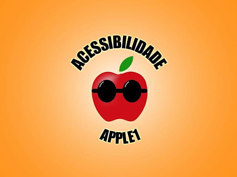 Logotipo com fundo laranja degradê para o centro mais claro, ainda no centro em negrito caixa alta, ACESSIBILIDADE, abaixo desenho de uma maçã vermelha com uma folha verde acima, a maçã possui óculos escuros e lentes arredondadas. Abaixo em negrito e caixa alta, APPLE 1